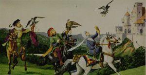 Ilustração histórica de uma caçada de falcoaria